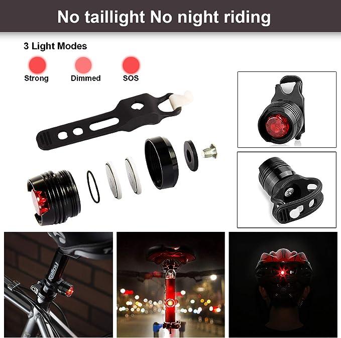 HiHiLL Luz de Bicicleta, Faros, Luces traseras, 3 Modos, a Prueba ...