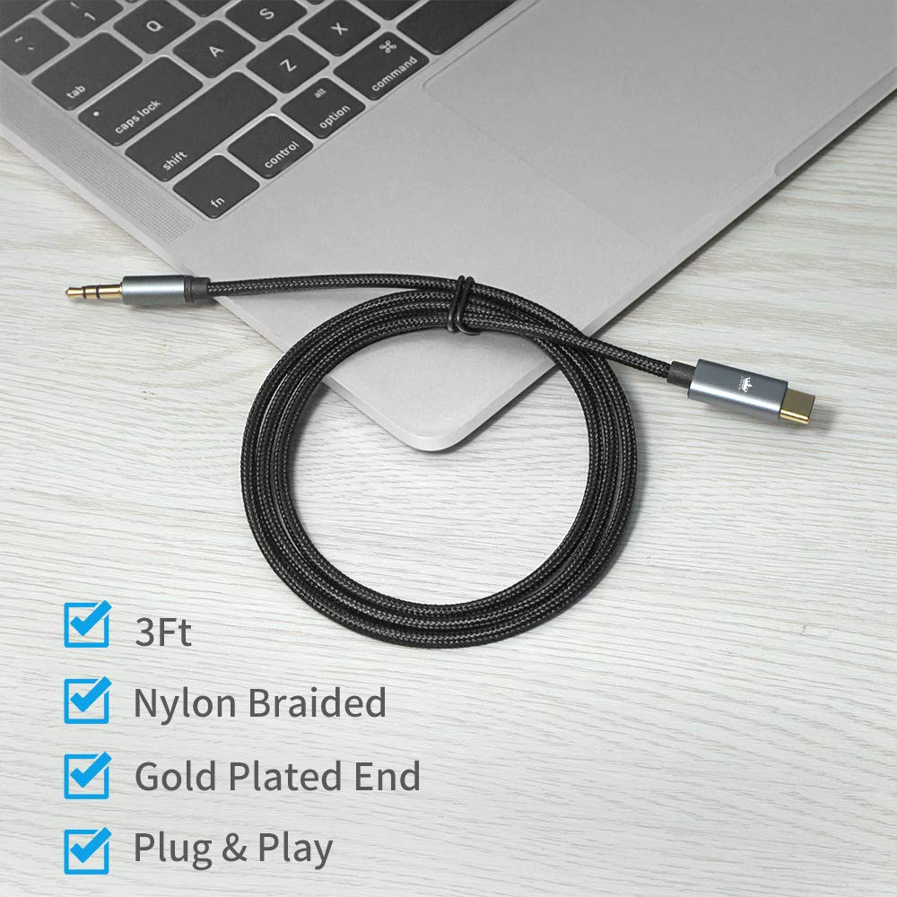 USB C to 3.5mm, Kingone Briaided USB C to Aux Cable Compatible for Pixel 2/2XL/3/3XL, iPad Pro 2018, Moto Z2, Essential Ph-1 and More by KINGONE (Image #7)