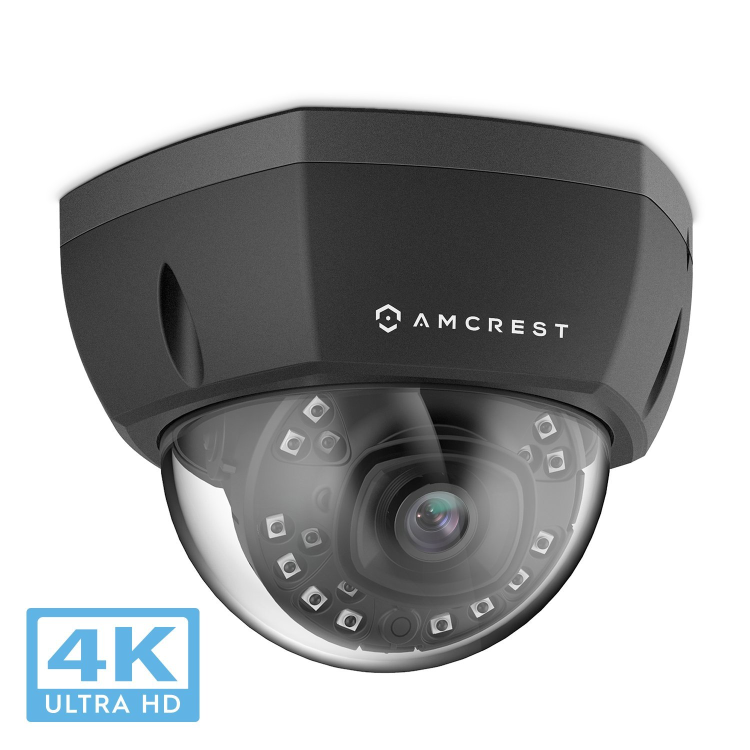Amcrest 4K Outdoor POE IP Camera, UltraHD 8MP Security Camera, 3840x2160P Resolution, IK10 Vandal Resistant Dome, 2.8mm Lens, IP67 Weatherproof Security, Cloud & MicroSD Recording (IP8M-2493EB)