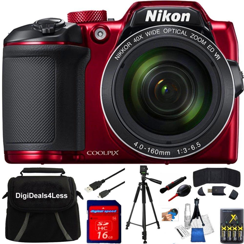 Nikon COOLPIX B500 16MP 40x Optical Zoom Digital Camera 16GB Bundle includes Camera, Bag, 16GB Memory Card, Reader, Wallet, AA Batteries + Charger, USB Cable, Tripod, DigiDeals4Less Cloth & MORE (Red)