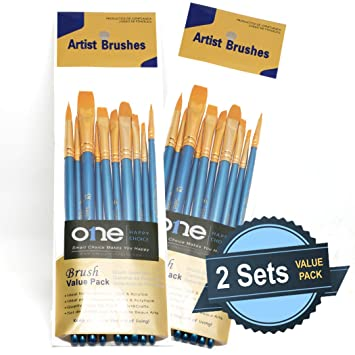 Amazon.com: Juego de 10 pinceles de pelo sintético para ...