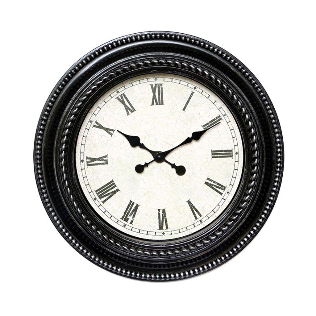 ウォールクロック20インチヨーロッパの創造的な人格の時計と腕時計リビングルームミュートの壁時計 (Color : Black) B07D5R1ZJC Black Black