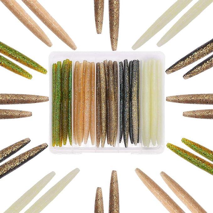"20pk 5/"" Senko style Worms-Black-Soft Plastic Stick Bait Made In USA"