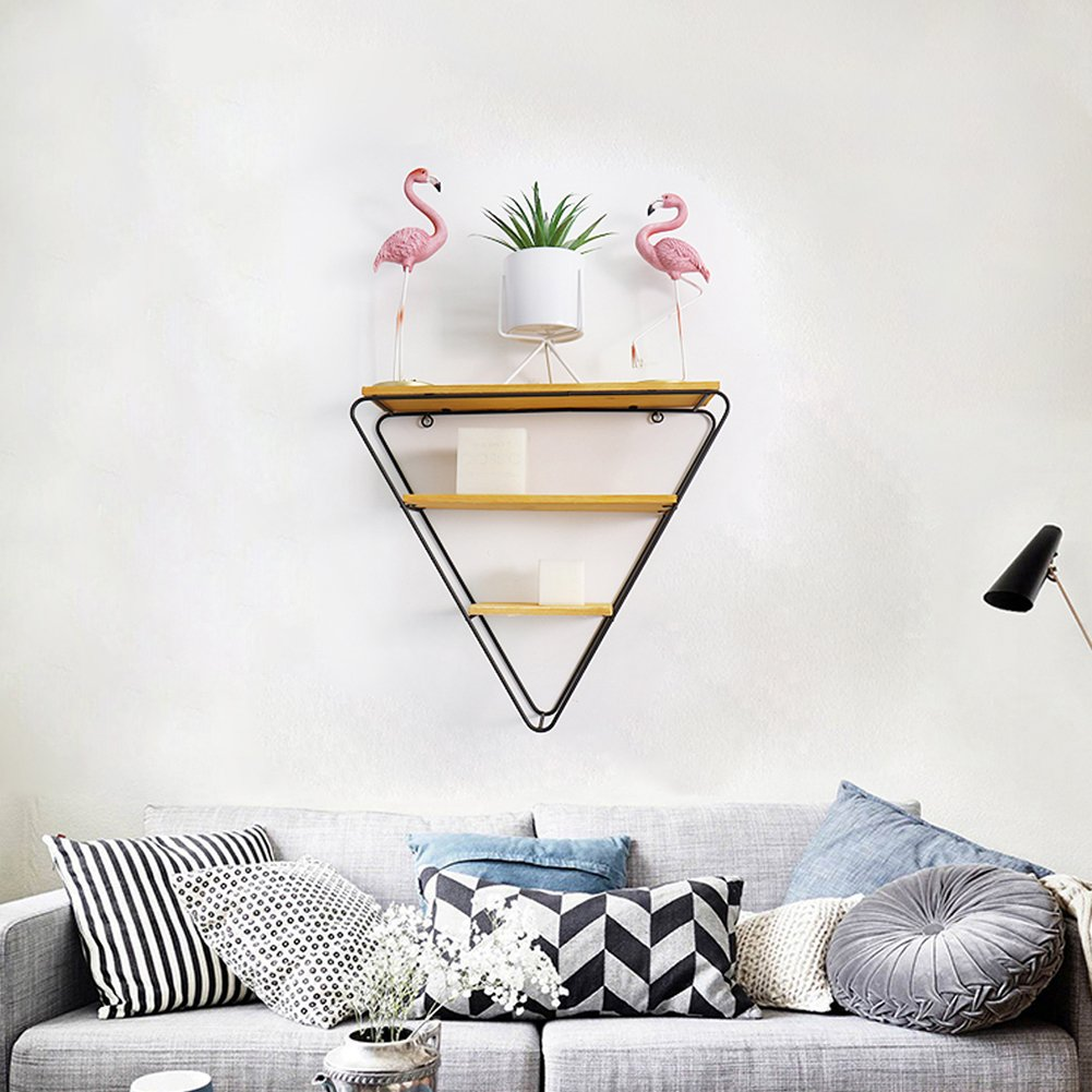 Alian Nordic Simple Iron Triangle Wall Hanger Bookcase Shelf Decorative Innovative Wall Coat Hanger Wall Storage Rack