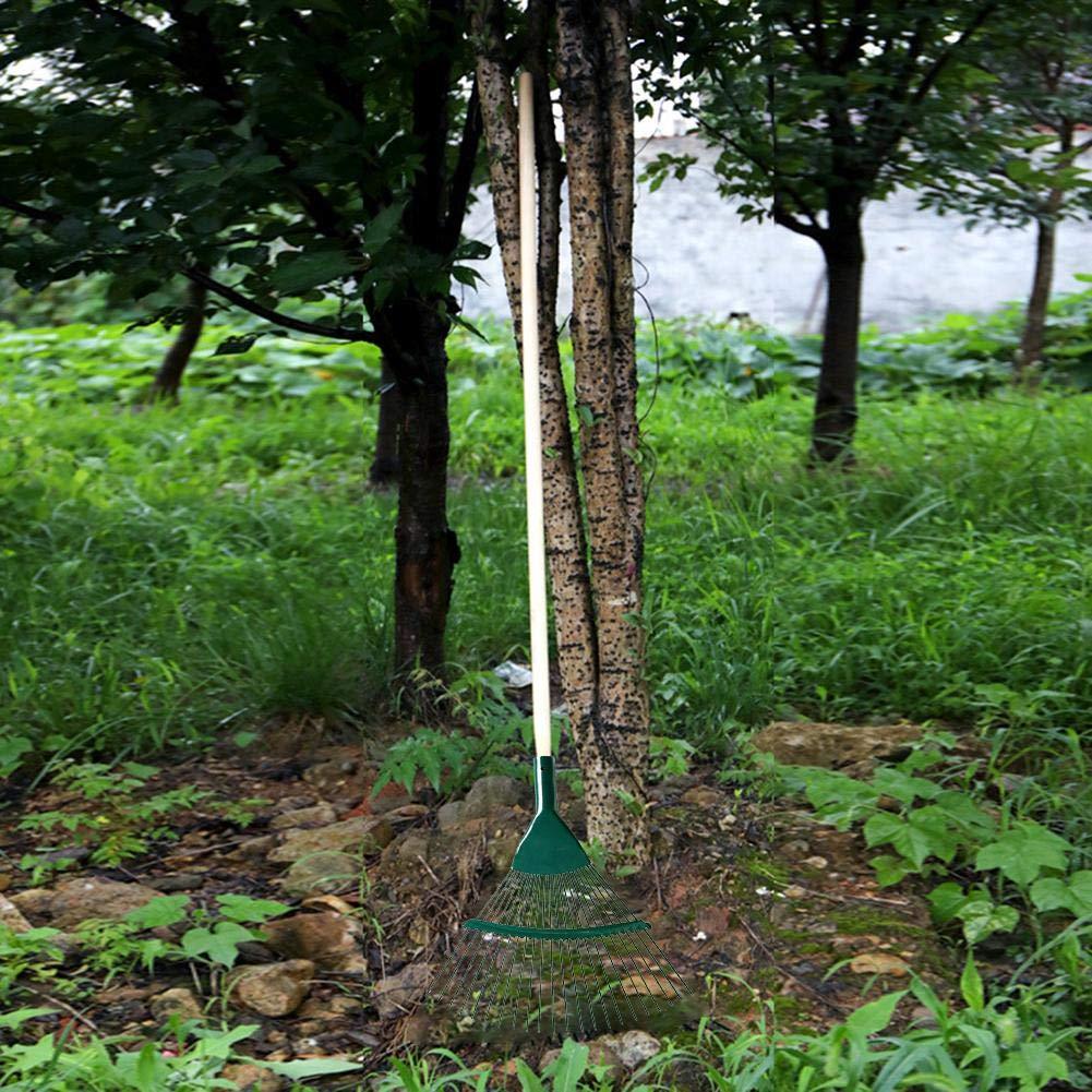 Gr/ün All Seasons DEQUATE Laubrechen Gardena//Grasrechen 22 Z/ähne Edelstahl Laubbesen F/ächerbesen Metall Verstellbarer Gartengras-Laubrechen-Klappkopf