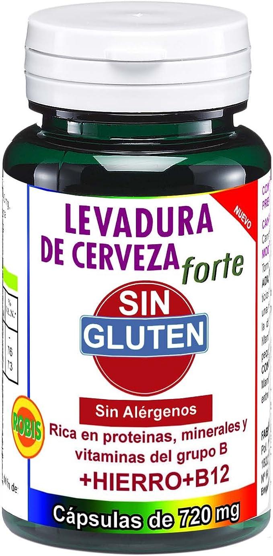 Robis Levadura de Cerveza Forte sin Gluten Complemento Alimenticio Natural - 3 Paquetes de 45 Cápsulas