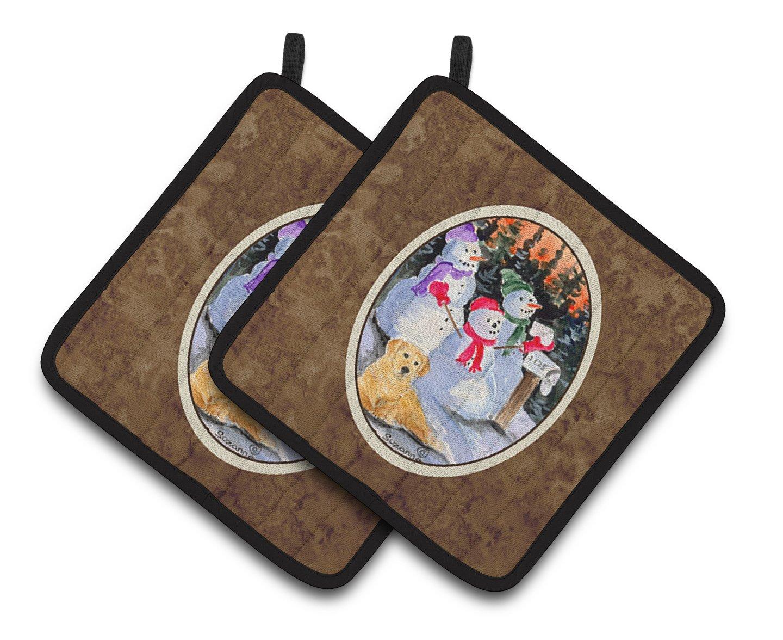 Carolines Treasures Snowman with Golden Retriever Pair of Pot Holders SS8989PTHD 7.5HX7.5W Multicolor