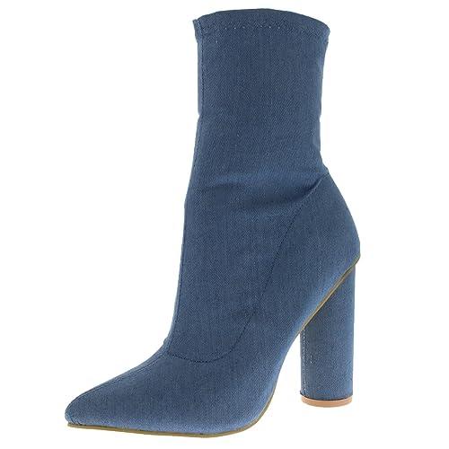 Mujer Calcetín Fit Dedo Punteado Moda Elegante Vestir Talón De Bloque Botines - Denim - UK10/EU43 - KL0226: Amazon.es: Zapatos y complementos
