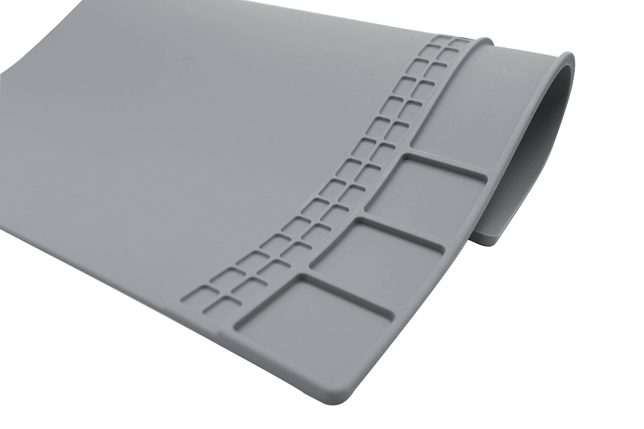 Large Soldering Mat Silicone work mat Heat Resistant,Heat Mat for Heat Hun Cell Phone, Repair Rework Surface Desk Electronics Repair Disassembly Welding Mat Gray color