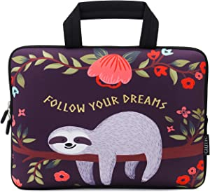 12 Inch Laptop Sleeve Carrying Bag Protective Case Neoprene Sleeve Tote Tablet Cover Notebook Briefcase Bag with Handle for Women Men(Sloth,12