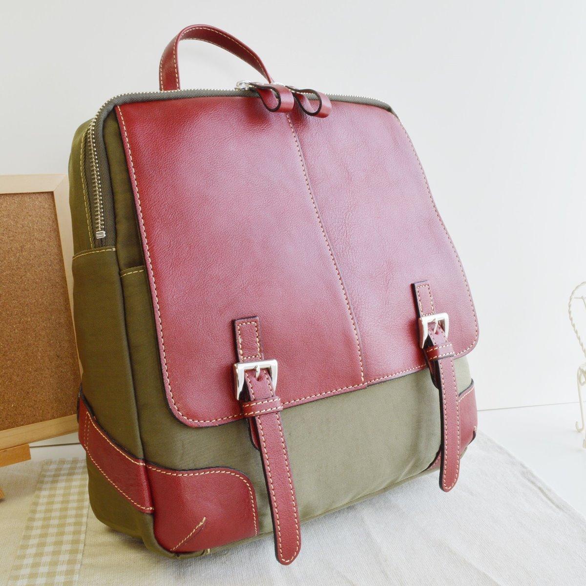 本革 リュック リュックサック カーキ レッド 牛革使用 日本製 No2533 人気 通勤 通学バッグ レディースバッグ (鞄 かばん バッグ)   B06Y1K26F9