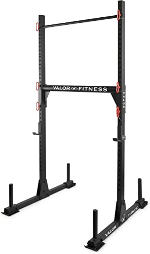 Valor Fitness BD-21 Yoke Rack Strongman Equipment J Hooks Squat Rack and Bench Press Pull Up Bar Optional Safety Spotter Arms