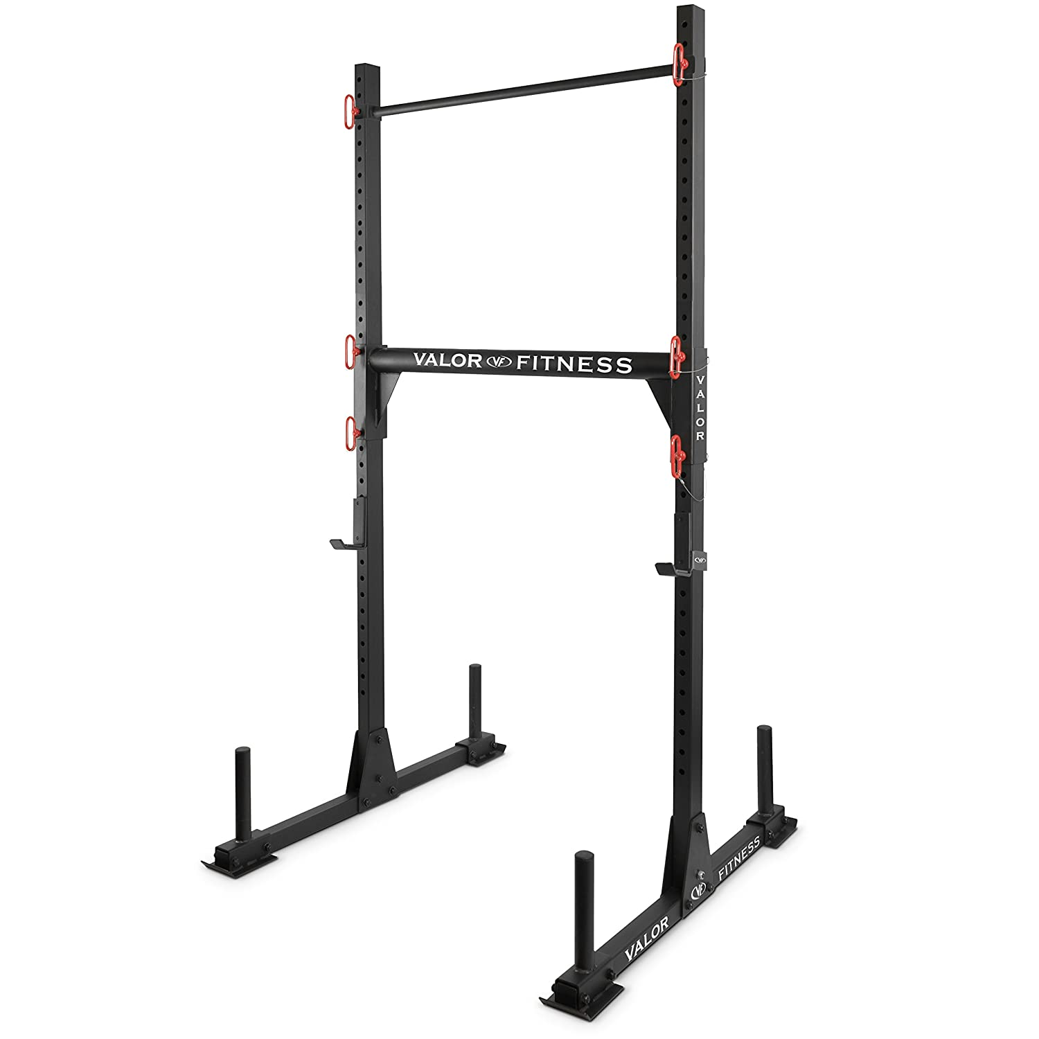 Valor Fitness BD-21 Yoke Rack with J-Hooks, Adjustable Crossbar and Pull Up Bar and Option to Add On Safety Bar Catches