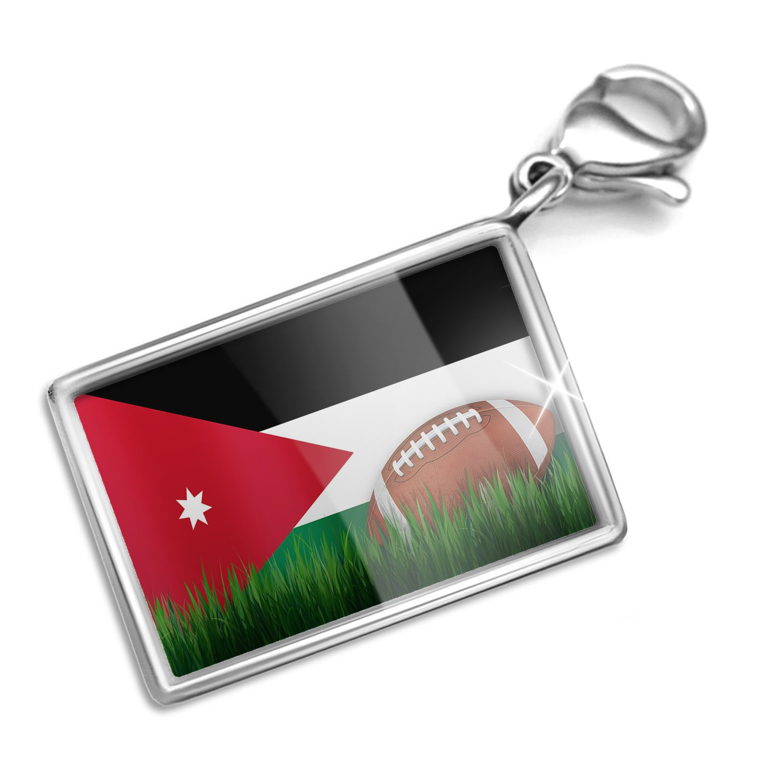Clip on Charm & Bracelet Set Football with Flag Jordan Lobster Clasp