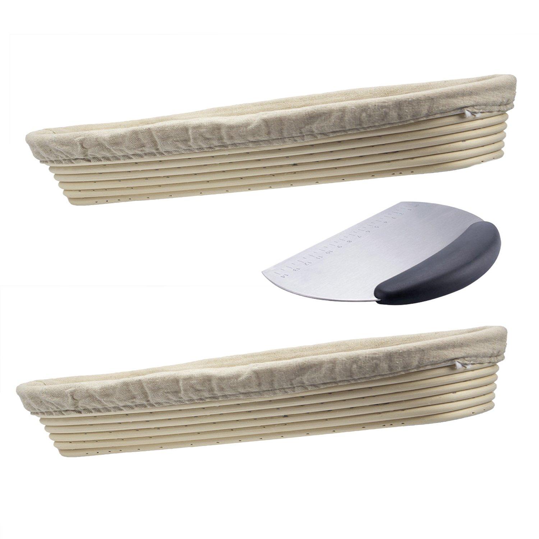 Dgtek 2 pcs 17 inch Baguette Banneton Brotform + 1 Stainless Steel Dough Scraper Bread Proofing Basket Natural Rattan Cane Handmade & Linen Liner Cloth by Dgtek