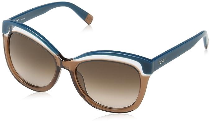 1e40b8e5aaff Furla Eyewear Women's SU4957 Sunglasses, Shiny Blue/Petroleum, One ...