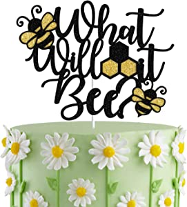 Black Glitter What Will It Bee? Cake Topper, Bee Gender Reveal, Mommy to Bee Cake Decor,Bee Themed Baby Shower, HoneyBee Party Decorations