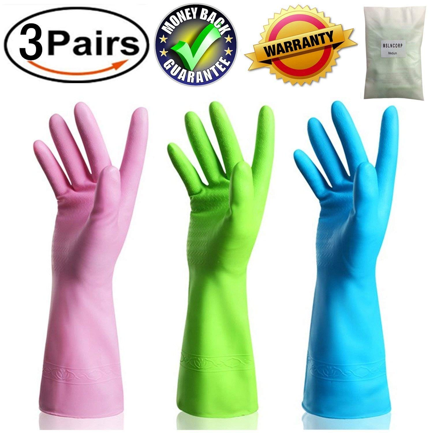 Kitchen Rubber Cleaning Gloves Dishwashing Clean Latex Glove Reusable with Household Powder Free (3 Pairs Medium) MSLNCORP