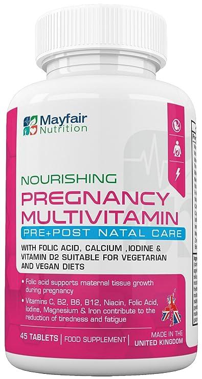 Compuesto multivitamínico para el embarazo | Fórmula de calidad superior para futuras mamás | Completo con 16 vitaminas y minerales esenciales | 45 ...