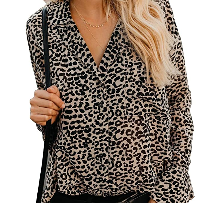 a118286e9cc8aa Womens Leopard V Neck Print Shirt Animal Blouses Cardigan Leopard Print  Tops for Women Size XL