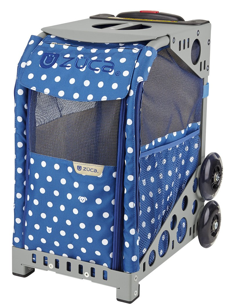 Zuca ZuZuca Rolling Pet Carrier - ''Best In Show'' Insert Bag, Choose Your Frame Color (Gray Frame & Flashing Wheels)