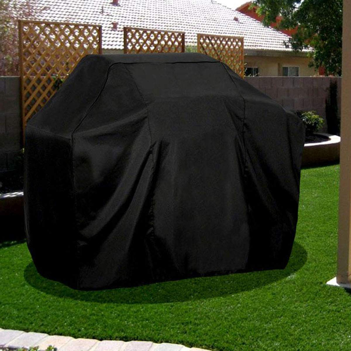 FiNeWaY@ HEAVY DUTY WATERPROOF ELASTIC FITTED BREATHABLE BBQ COVER BARBECUE GRILL PROTECTOR W ZIPS 120CM X 145CM X 70CM LARGE