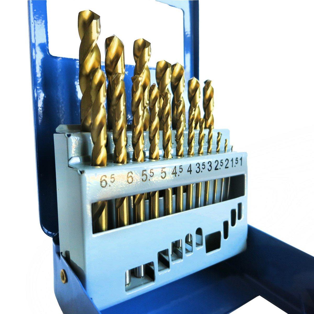 S/&R Juego 23 Brocas para Metal Acero HSS Madera Hormig/ón Piedra Caja en Metal Profesional