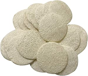 Facial Loofah Pads, 2.36 inches Round Complexion Natural Loofah Facial Discs Exfoliating Facial Loofah Skin Scrub Pack of 20