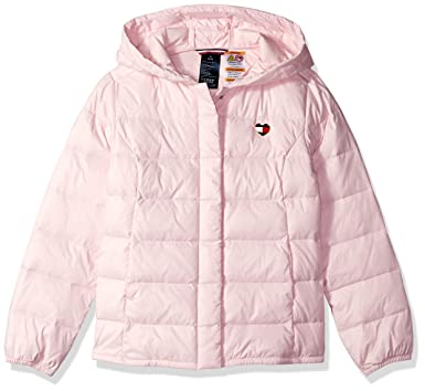 5e19e1b5 Tommy Hilfiger Adaptive Girls' Big Puffer Jacket with Magnetic Buttons,  Ballerina-Print XS
