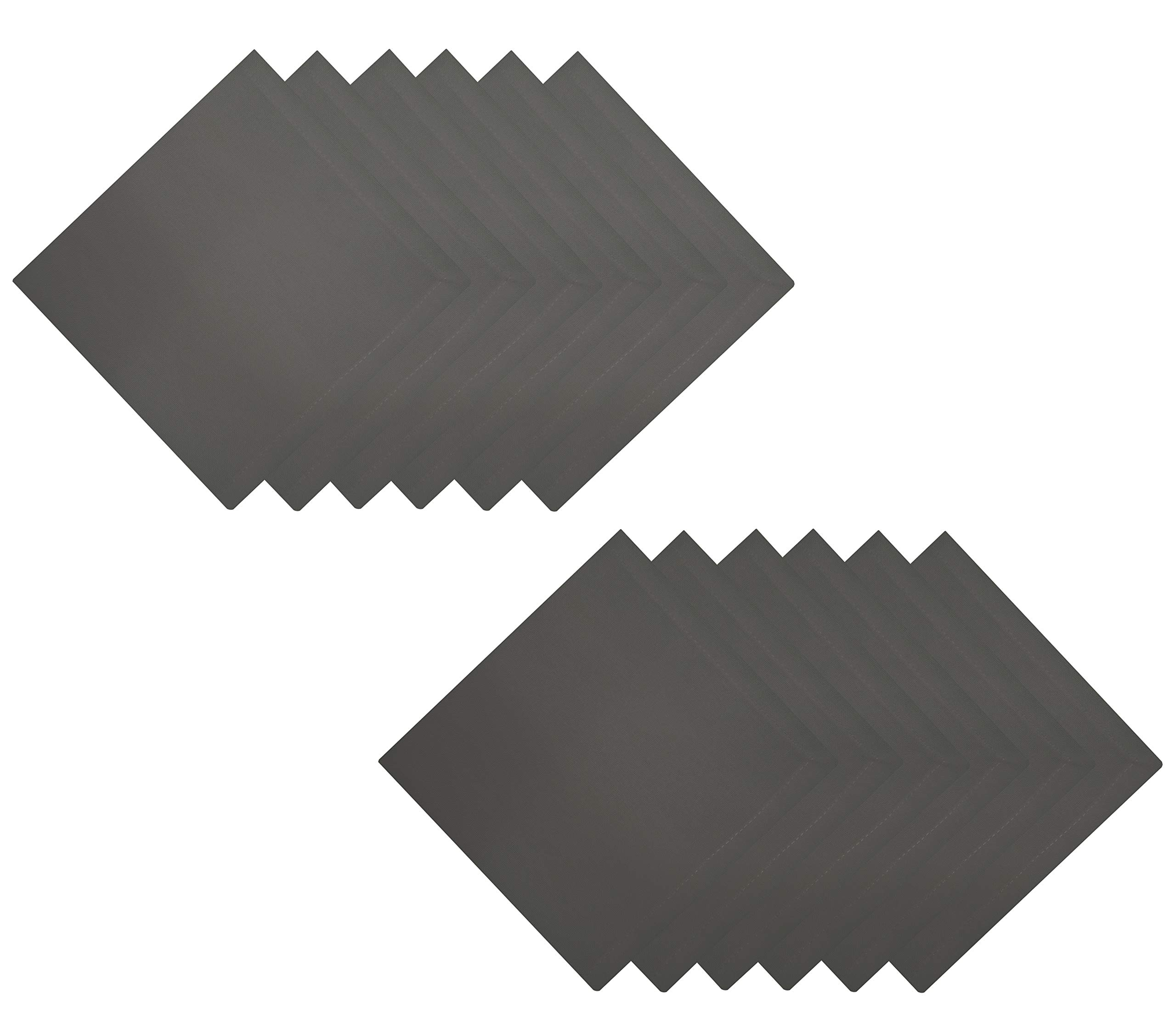 Tiny Break Cloth Napkins 17 x 17 inch - 100% Cotton - Soft Comfortable - Ideal Events Regular Home Use - Graphite Grey - 12 Pack