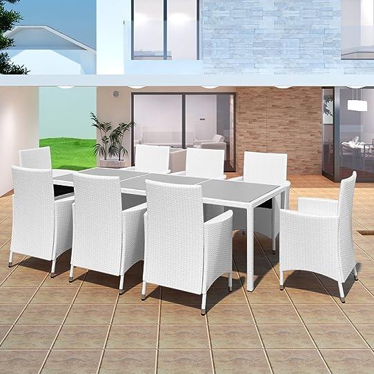 Salon de jardin blanc en résine tressée 8 chaises + 1 table ...