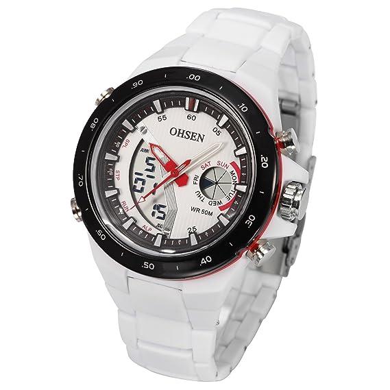 Reloj de Hombre Digital cronómetro Analógico Alarma Blanco Deporte Cuarzo Correa OHS188: Amazon.es: Relojes