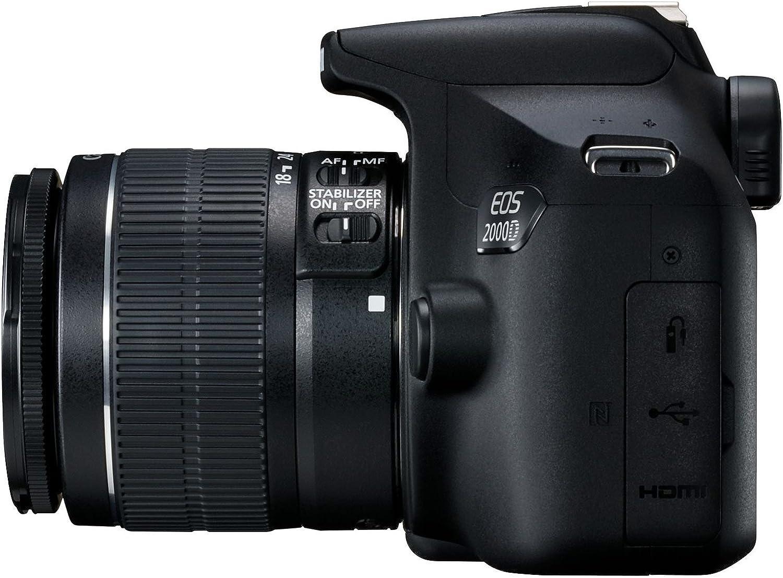 Canon EOS 2000D - Cámara réflex de 24.1 MP (CMOS, Escena inteligente automática, 9 puntos AF, filtros creativos, EOS Movie, Full HD LCD 3