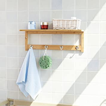 SoBuy® Badezimmer Und Küchen Wandregal Mit Hakenleiste Und Ablage,  Handtuchhalter Aus Bambus,FRG72