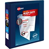 """Avery Heavy Duty View 3 Ring Binder, 2"""" One Touch EZD Ring, Holds 8.5"""" x 11"""" Paper, 1 Navy Blue Binder (79802)"""