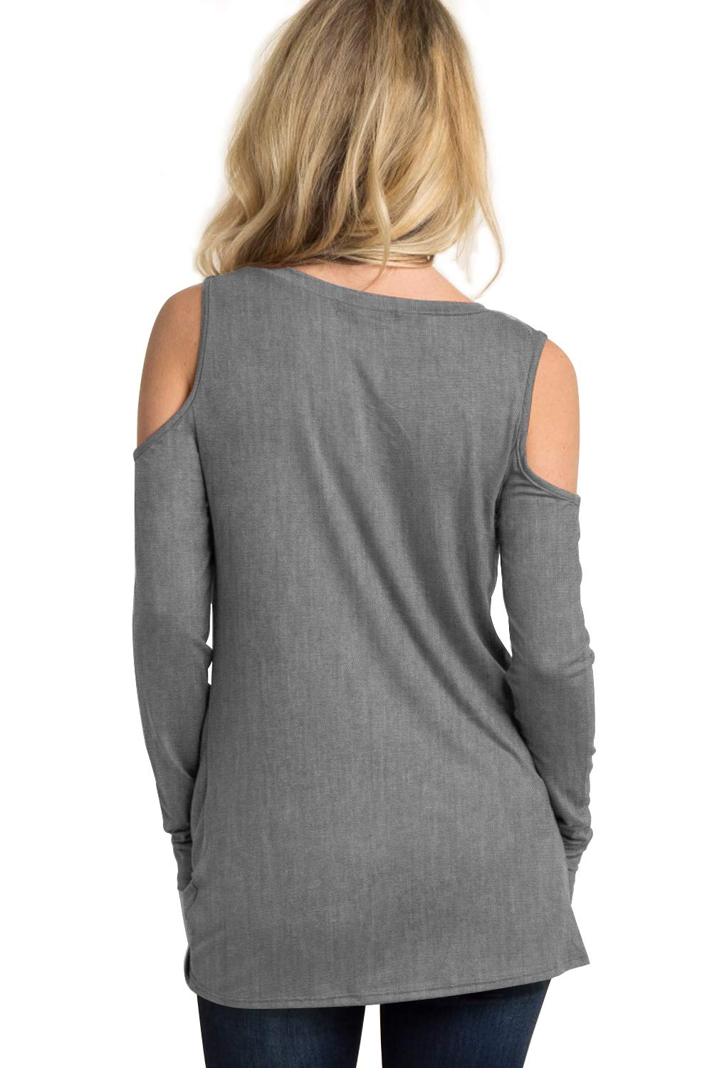 Eanklosco Women's Long Sleeve Cold Shoulder Cut Out T Shirts Casual Knot Tunic Tops (Grey, XL)