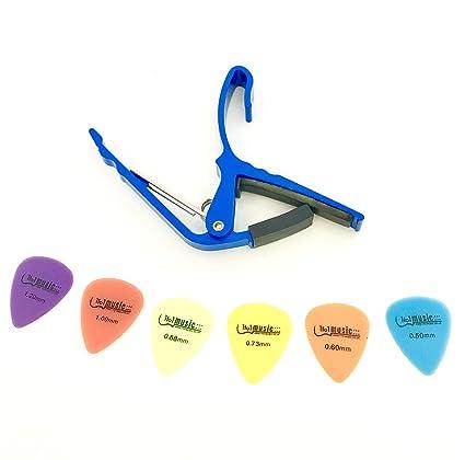 Groove Cejilla de cambio rápido para guitarras eléctricas y acústicas de 6 cuerdas, azul