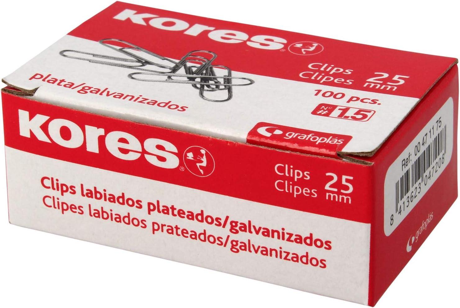 Kores 471175 Caja de Clips Galvanizados, Plateado, Nº 1.5 (25 mm)