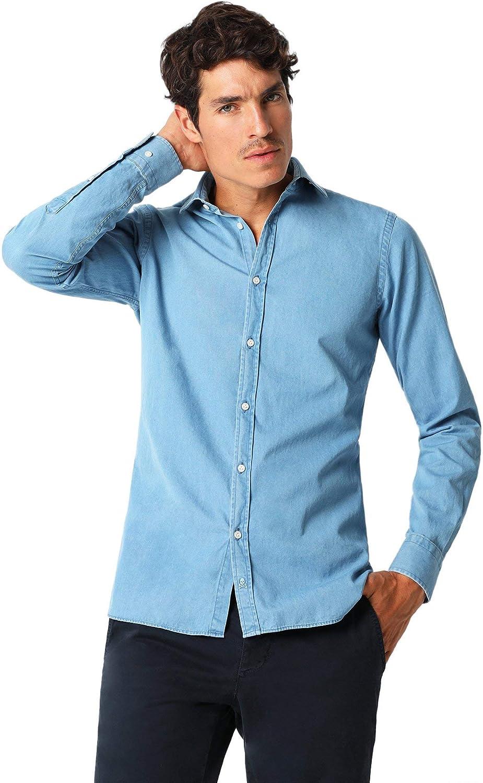 Scalpers Camisa Denim Calavera Tapeta - Blue / 44: Amazon.es: Ropa y accesorios