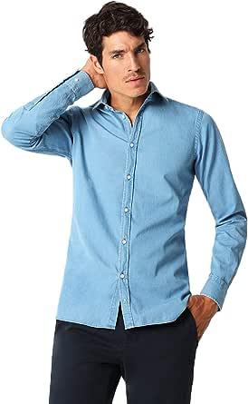 Scalpers Camisa Denim Calavera Tapeta - Blue / 44: Amazon.es ...