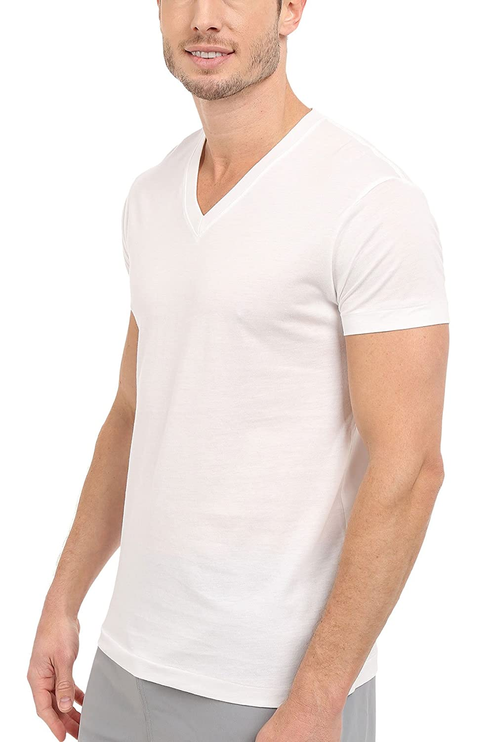 Kirkland black t shirts xl - Amazon Com Kirkland Signature Men S 100 Pima Cotton 4 Pack V Neck T Shirts Clothing
