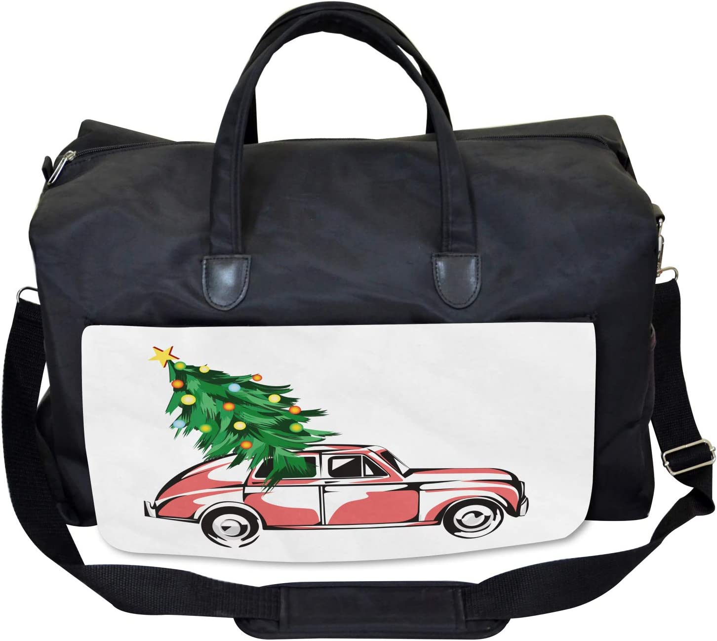 Ambesonne Christmas Gym Bag Large Weekender Carry-on Retro Car Xmas Tree