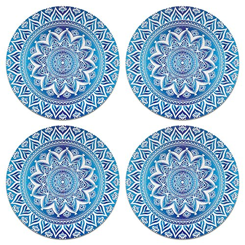 (CARIBOU Coasters, Blue & White Mandala Design Absorbent ROUND Fabric Felt Neoprene Coasters for Drinks, 4pcs Set)