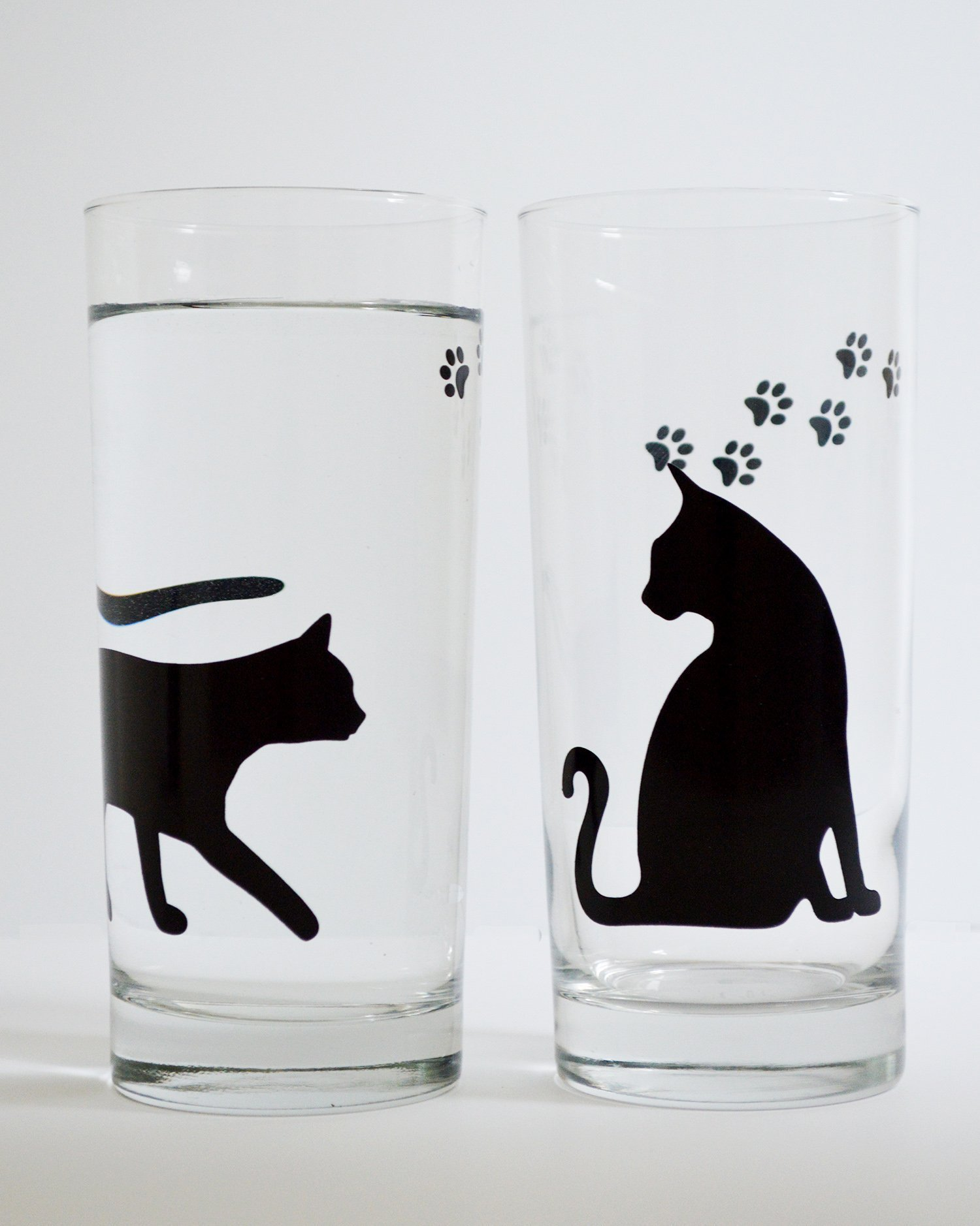Cat and Paws Everyday Drinking Glasses Set of Two 16 oz Glasses, Cat Lover Gifts, Cat Glasses, Cats by Mary Elizabeth Arts