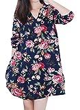 (オッサエプ)OASAP x AZBRO 美しい 花柄ラウンドカラー不規則裾ルーズフィット ワンピース