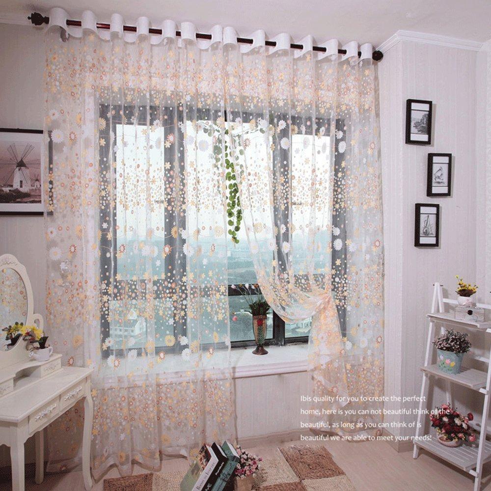 kasit Fleurs Tulle voile rideau de fenêtre de T ¨ ¹ R de Rose Panel Drape Sheer écharpe volants F ¨ ¹ R Chambre Salle de bain Salon Chambre, jaune