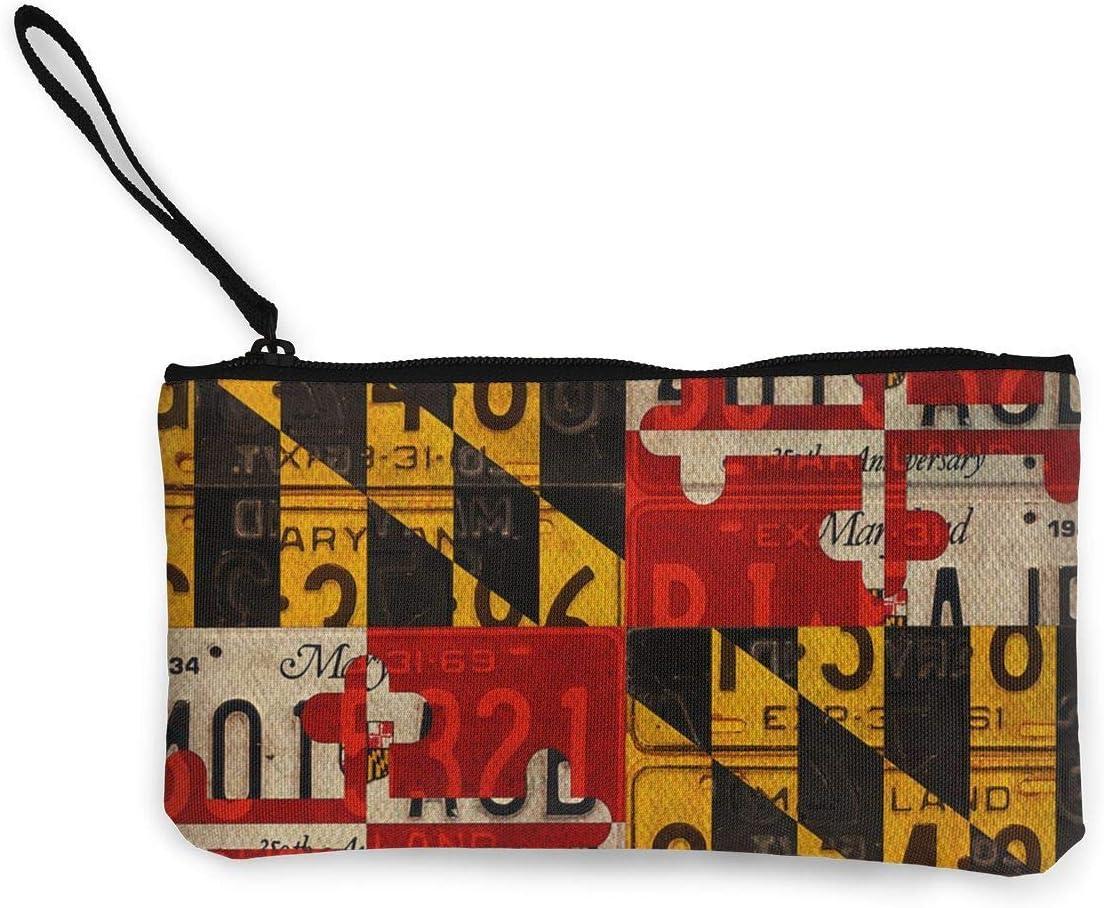 Estuche de lápices de Maquillaje de Viaje con Monedero con Bandera del Estado de Maryland con Mango Estuche de lápices de Lona en Efectivo 4.7