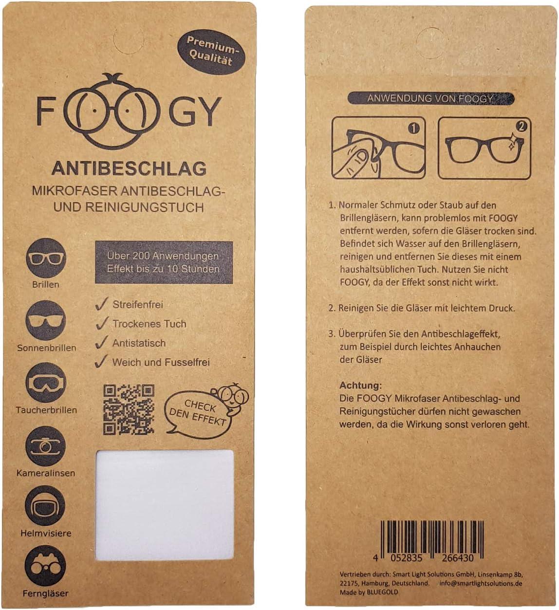 Foogy Antibeschlag Microfaser Brillentuch Trockenes Reinigungs Tuch Pfoa Frei Pfas Frei Reach Oeko Tex 100 Zertifiziert Keine Zusätzlichen Flüssigkeiten Notwendig Küche Haushalt