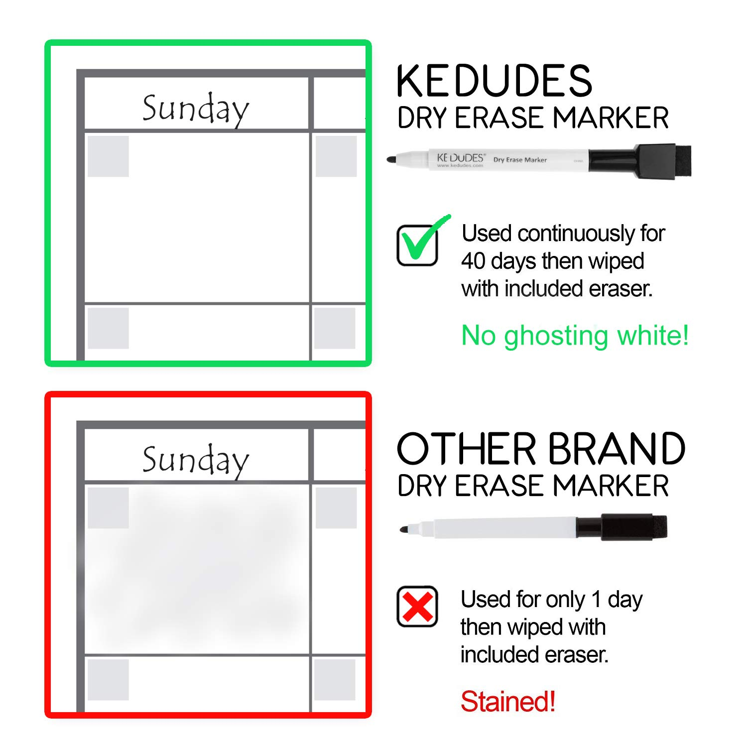 Premium Magnetic Dry Erase Whiteboard Sheet 17'' x 11'' Great for Fridge! Includes a Set of 6 Markers (60876668980) by kedudes