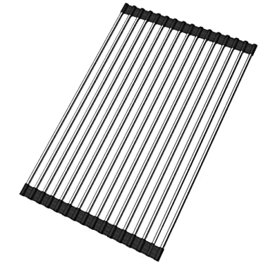 Roll-up Dish Drying Rack Foldable Stainless Steel Over Sink Rack Kitchen Drainer Rack (17.8''x11.2'')